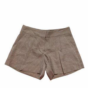 Theory Shorts Linen Pleats Pockets Tan Brown